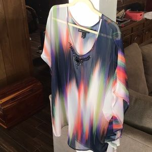Sheer Multicolored Blouse by Lane Bryant